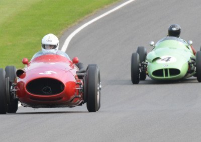 Mark Hales driving Nick Mason's Maserati 250F followed by a BRM Type 25