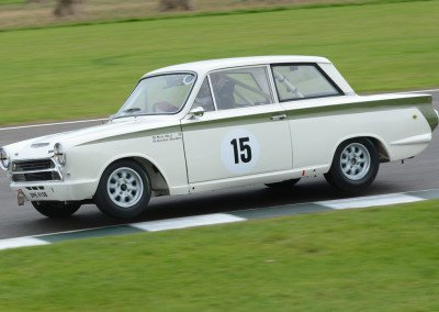 The Shedden/Neal 1558cc Lotus Ford Cortina raced to second position.