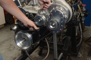 To apply belt tension to the crank and gearbox pulleys a simple self-adjusting idler wheel is moved downward.
