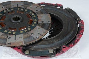 This image shows the after effects of severe clutch slippage on the pressure plate and clutch disc.