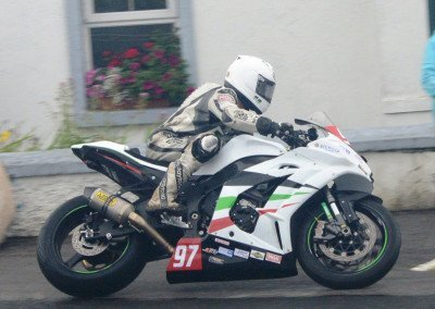 Fast and consistent, Seamus Elliott claimed fourth place in the wet conditions of  the first race on his 1000cc Kawasaki ZX10R
