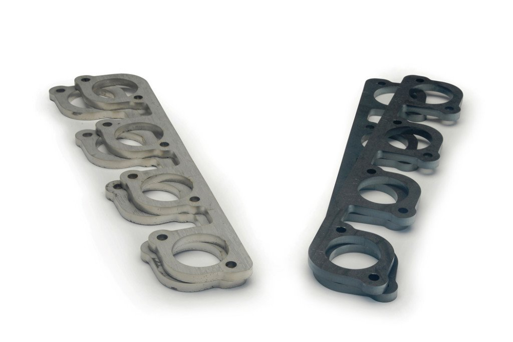 Exhaust header flanges in mild steel and stainless steel accommodate popular tube sizes typically 1-7/8in to 2-1/4in