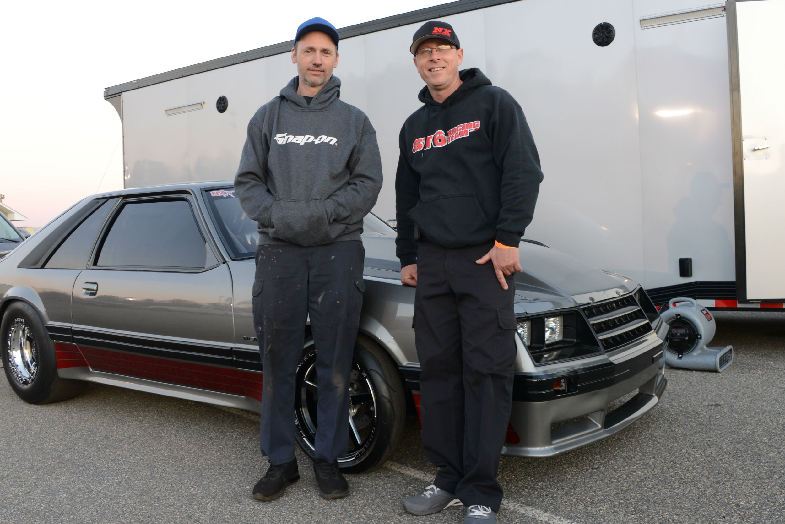 The Atlanta Grudge racing faithful flock to the Fox-body. Accomplished constructor/tuner Scott Milner (left) and gifted competitor Jonathan May with an HPE Hemi-powered small-block